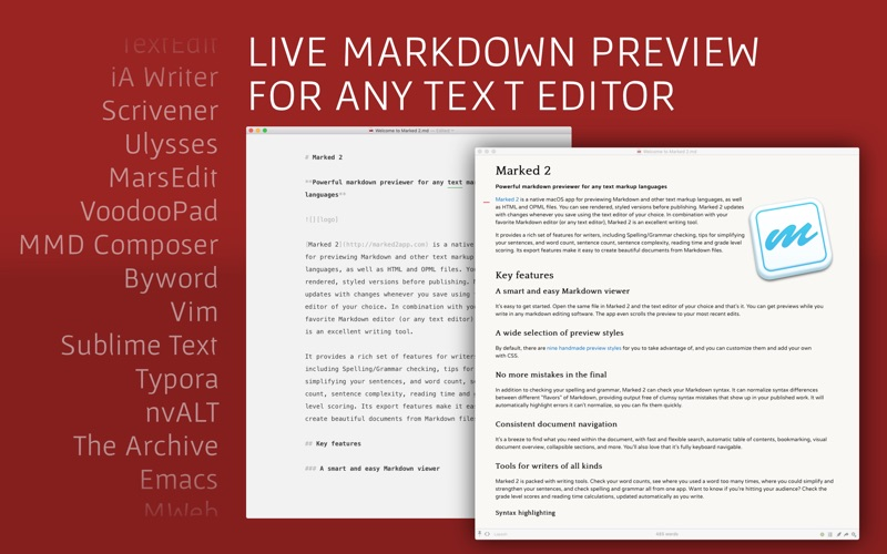 Marked 2 - Markdown Preview Screenshots