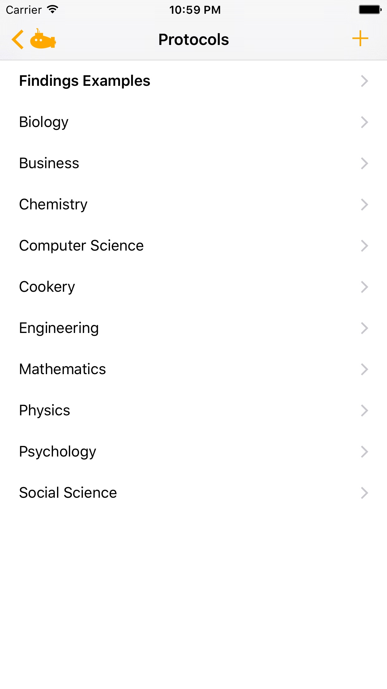 Screenshot do app Findings - Lab Notebook