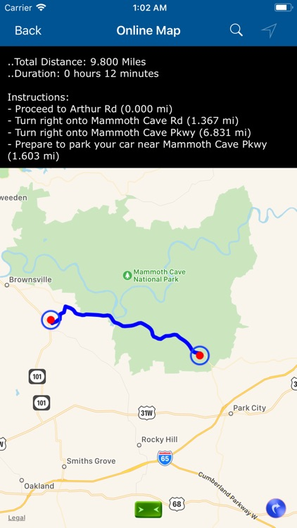 Mammoth Cave National Park Map