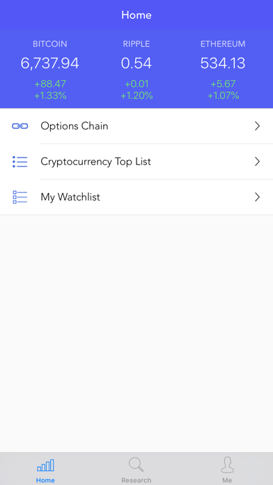 Crypto Options Screenshot