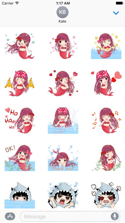 Cute Mermaid And Shark Sticker