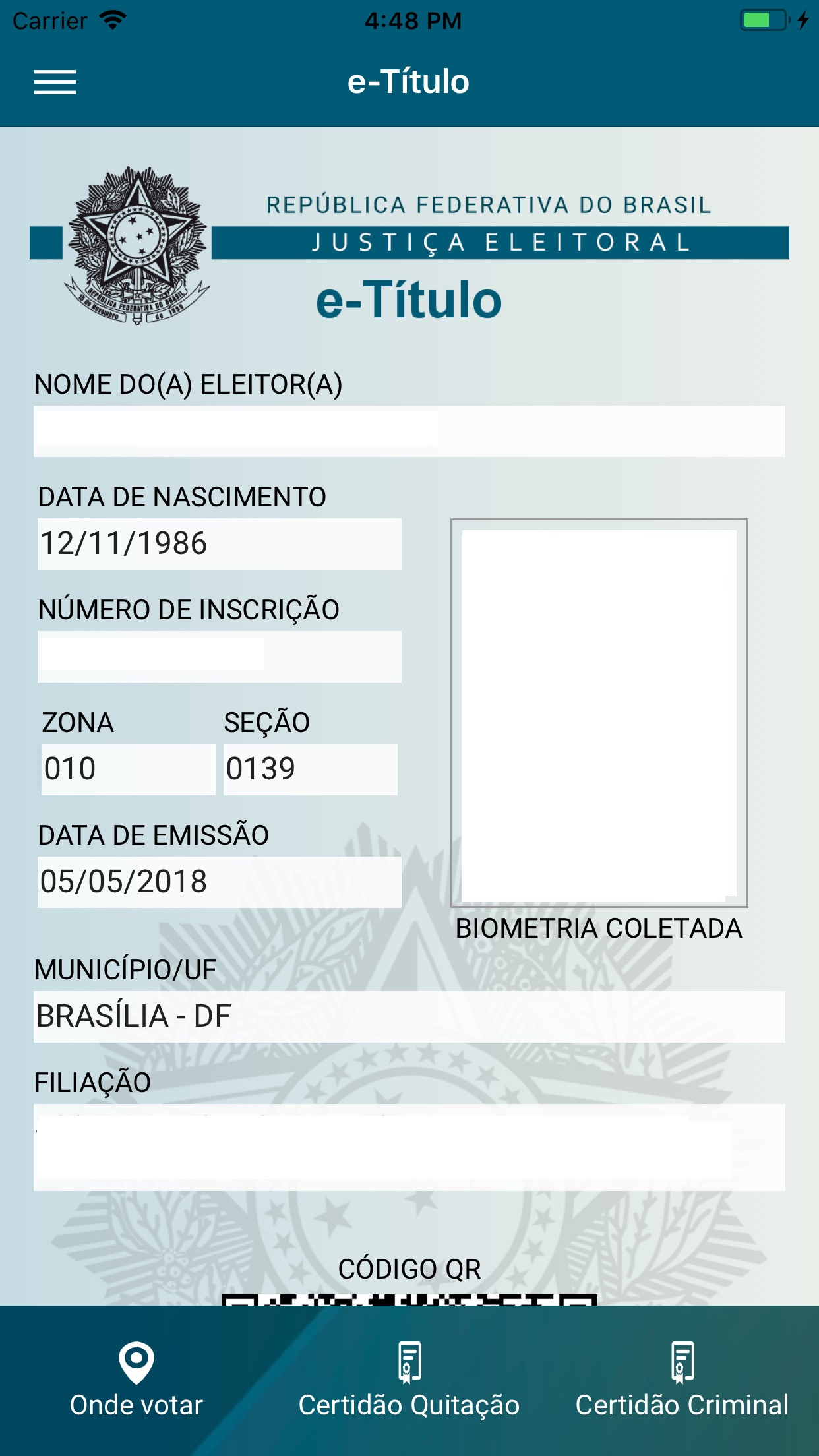 Screenshot do app e-Título