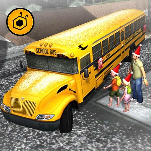 Winter school bus simulator - snow bus parking 3D iOS App