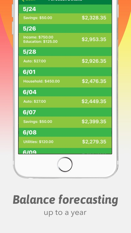 Green: Budget App with Balance Forecasting