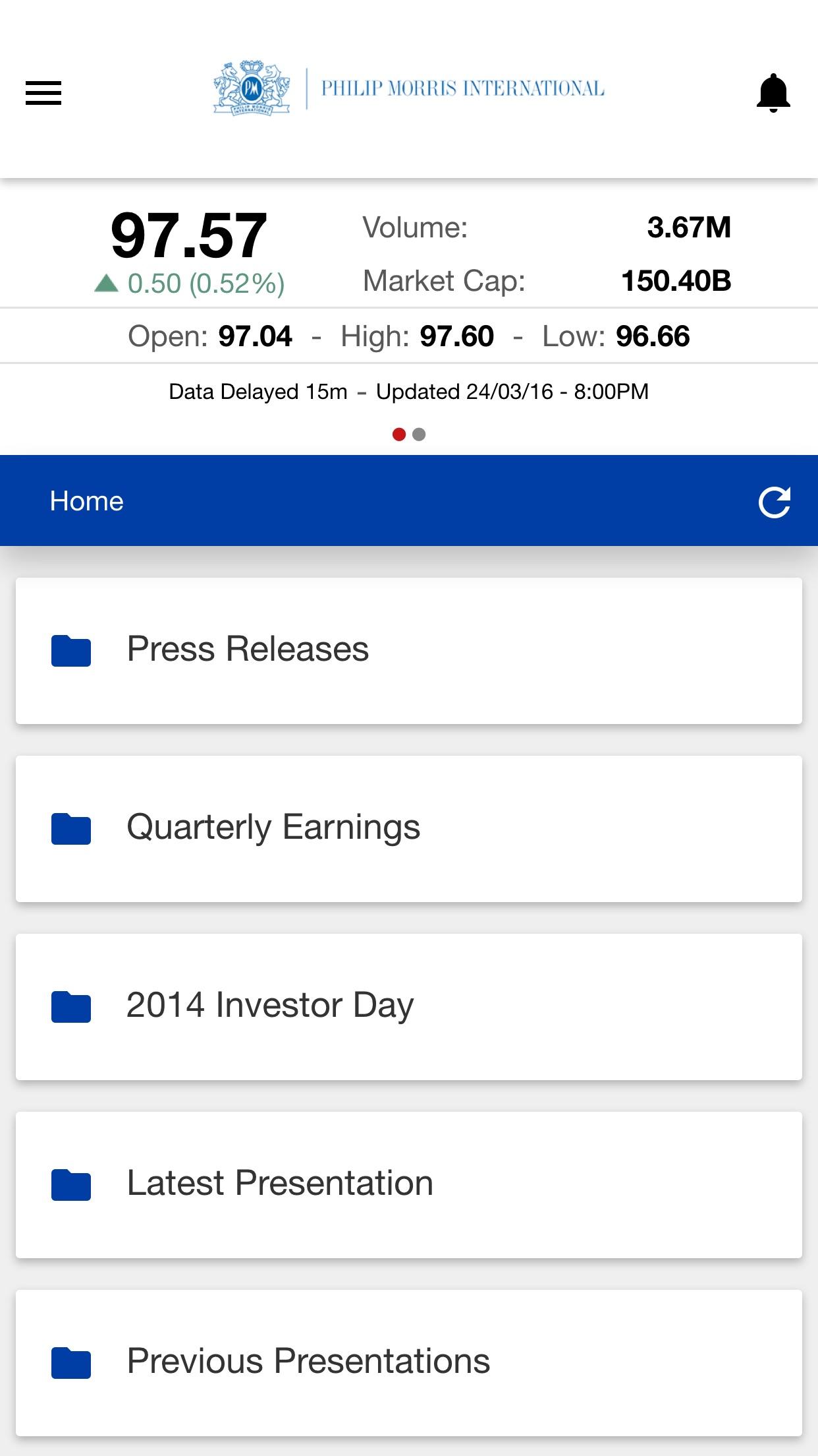 PMI IR App Screenshot