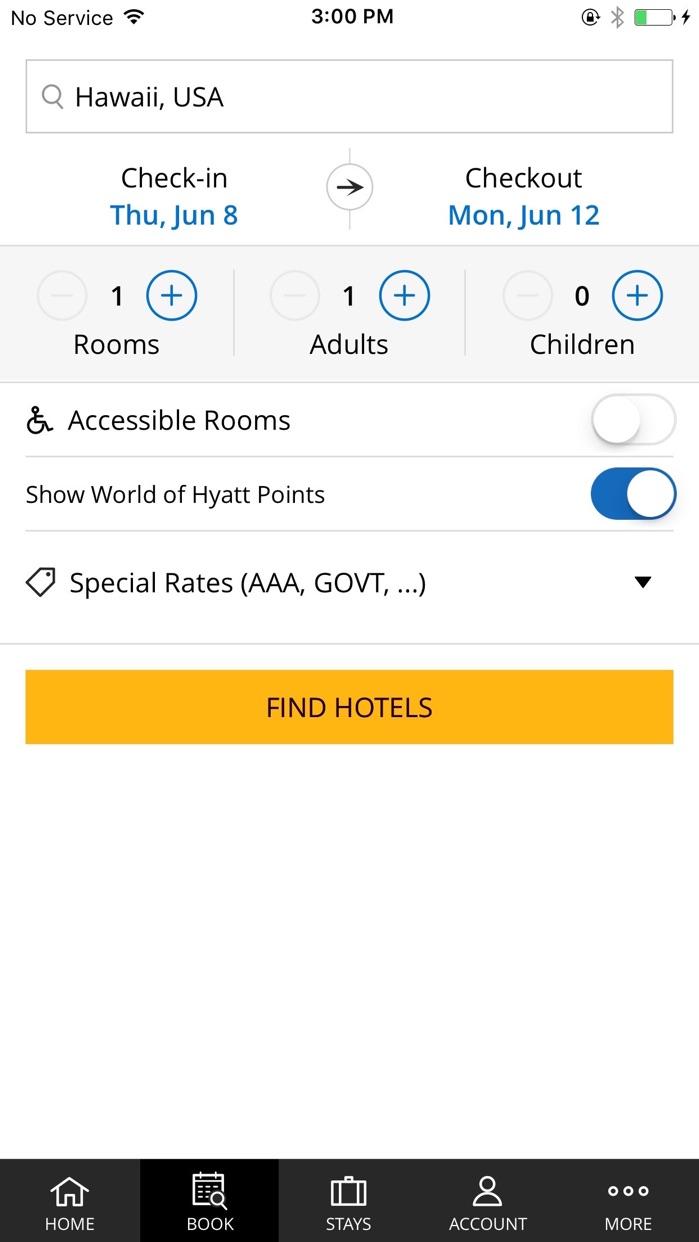 Hyatt Hotels Screenshot