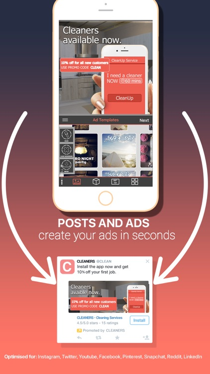 Post & Ad Creator for Instagram, Twitter and media
