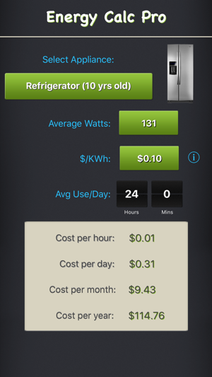 Energy Calc Pro Appliance Energy Cost Calculator On The