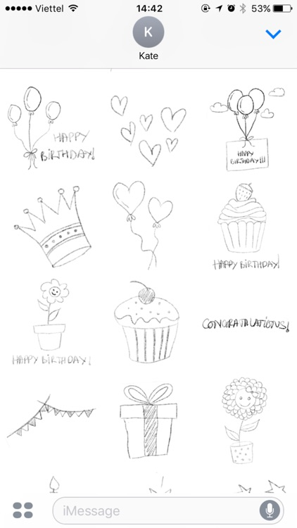 Hand Drawn Birthday Stickers screenshot-3