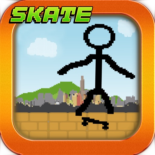 Tiny Stick-Man Skate-Boarding Awsome Pixel Game