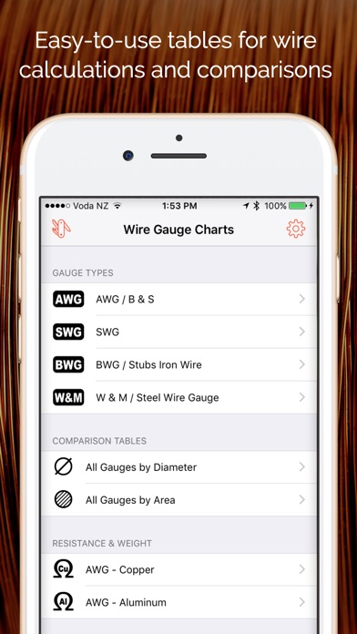 Wire gauge charts size tables for awg swg bwg app price drops screenshot 6 for wire gauge charts size tables for awg swg bwg keyboard keysfo