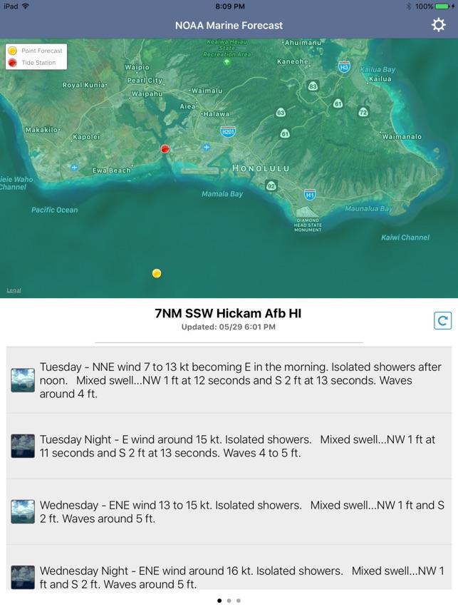 NOAA 5 day Marine Forecast on the