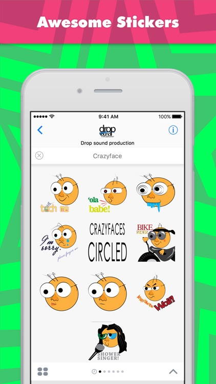 Crazyface stickers by drop sound
