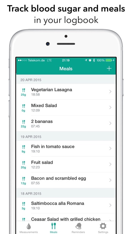 Diabetes Assistant - track blood sugar and meals