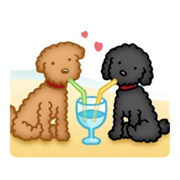 Summer Vacation of Black Toy Poodle Dog Sticker