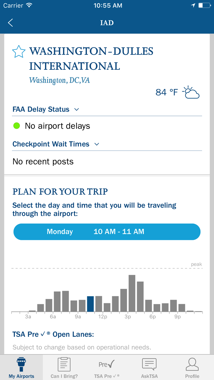 MyTSA Screenshot