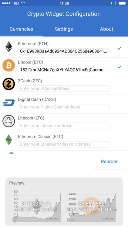 Crypto Currency Widget & Complication: Ethereum