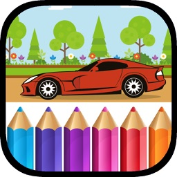 Transport Coloring Pages - Cars and Plane Painting