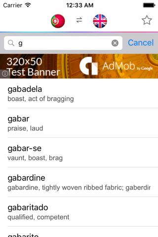 Portuguese English Dictionary - náhled