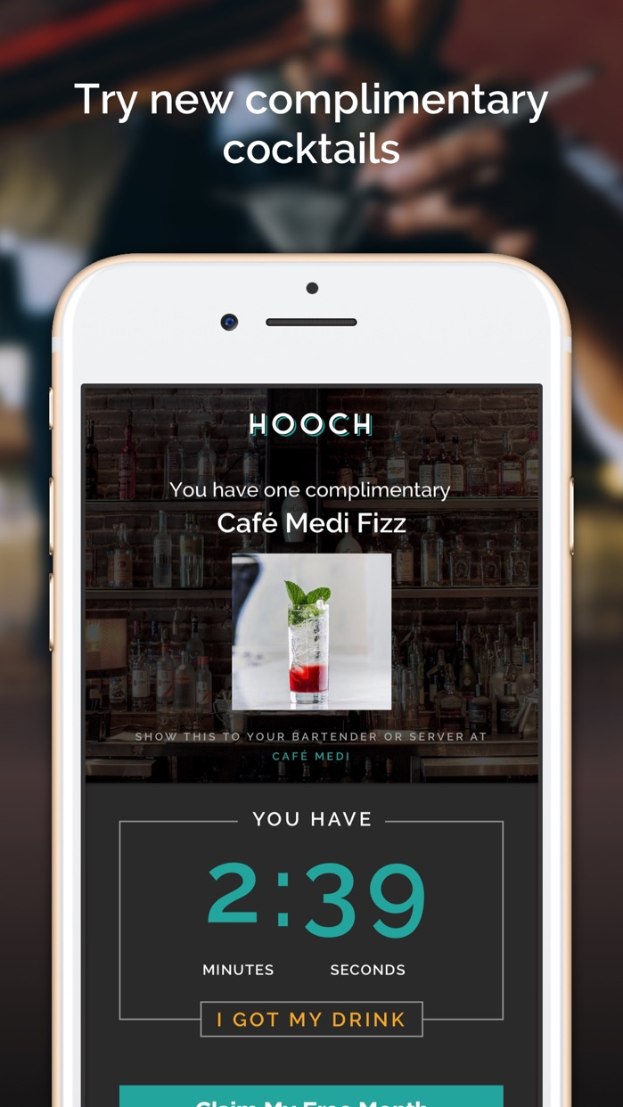 Hooch - One Drink A Day Members Only Cocktail App Screenshot