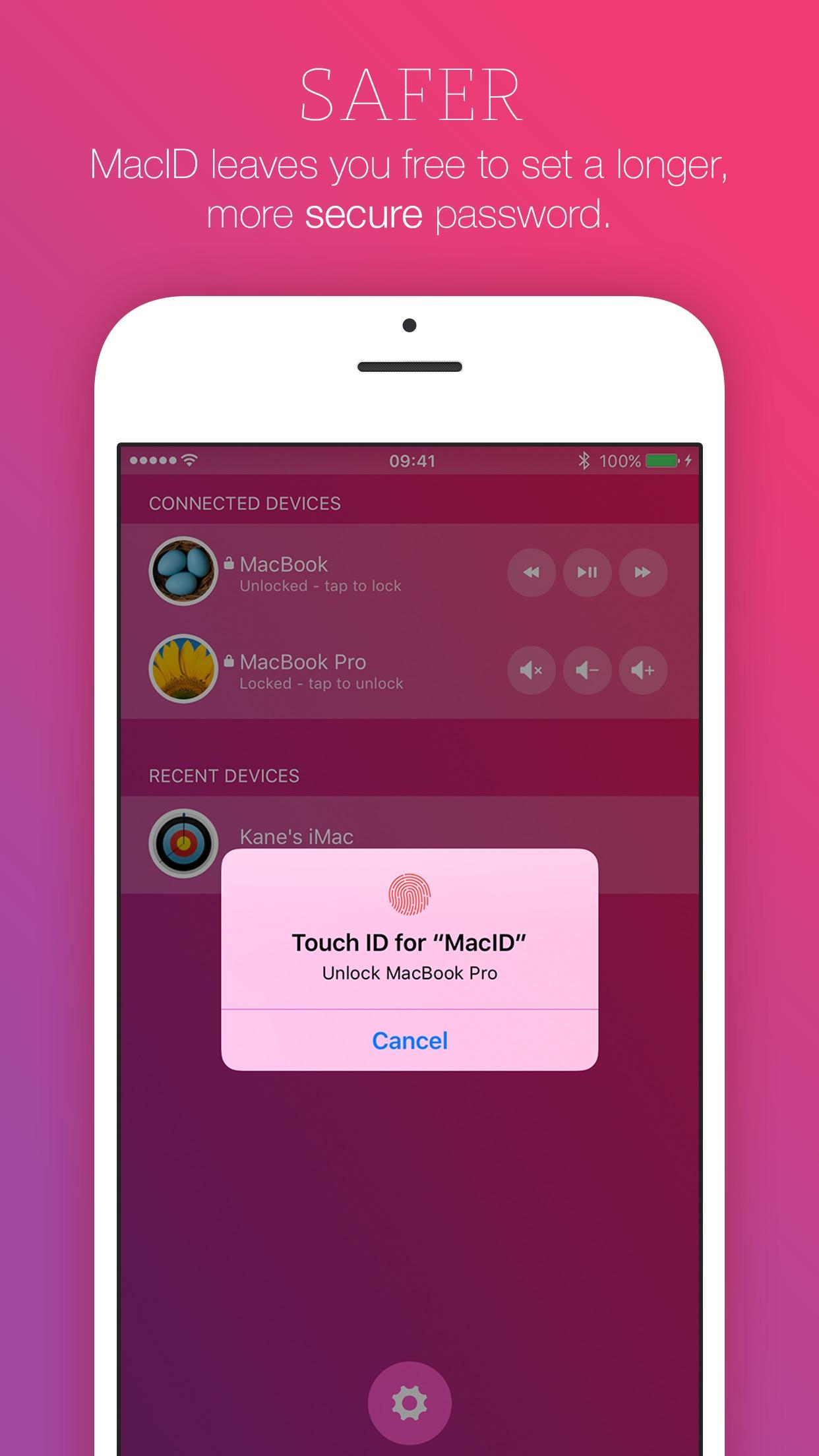 Screenshot do app MacID