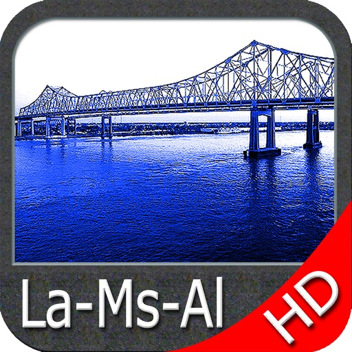Louisiana Mississippi Alabama HD GPS Map Navigator