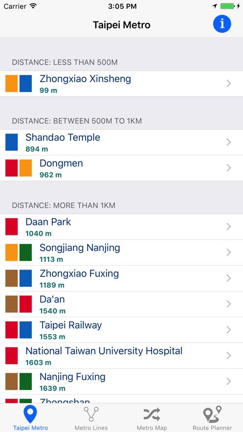 台北地铁 App 截图