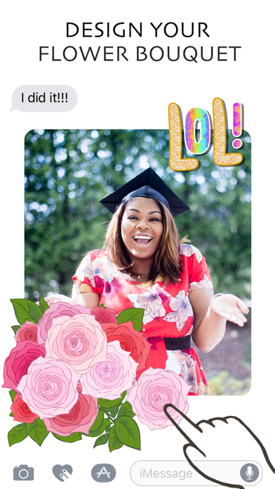 FloralShop: 2017 Graduation & More Flower Stickers screenshot one
