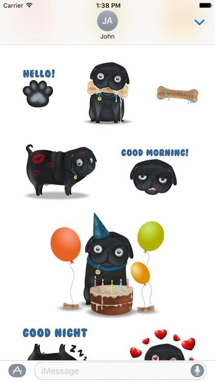 Black Pug Emoji Stickers screenshot-3