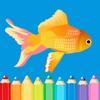 食品&動物着色ページ - 簡単な塗り絵