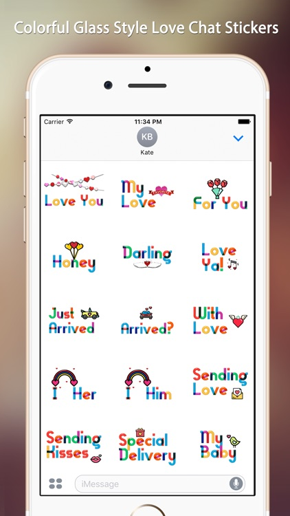 Lovely Colorful Glass Sensitive Word Stickers screenshot-0
