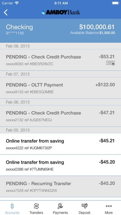 Amboy Bank's Mobile Banking screenshot-3