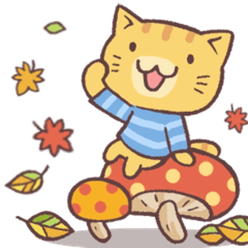 Cute Cat In Autumn Sticker