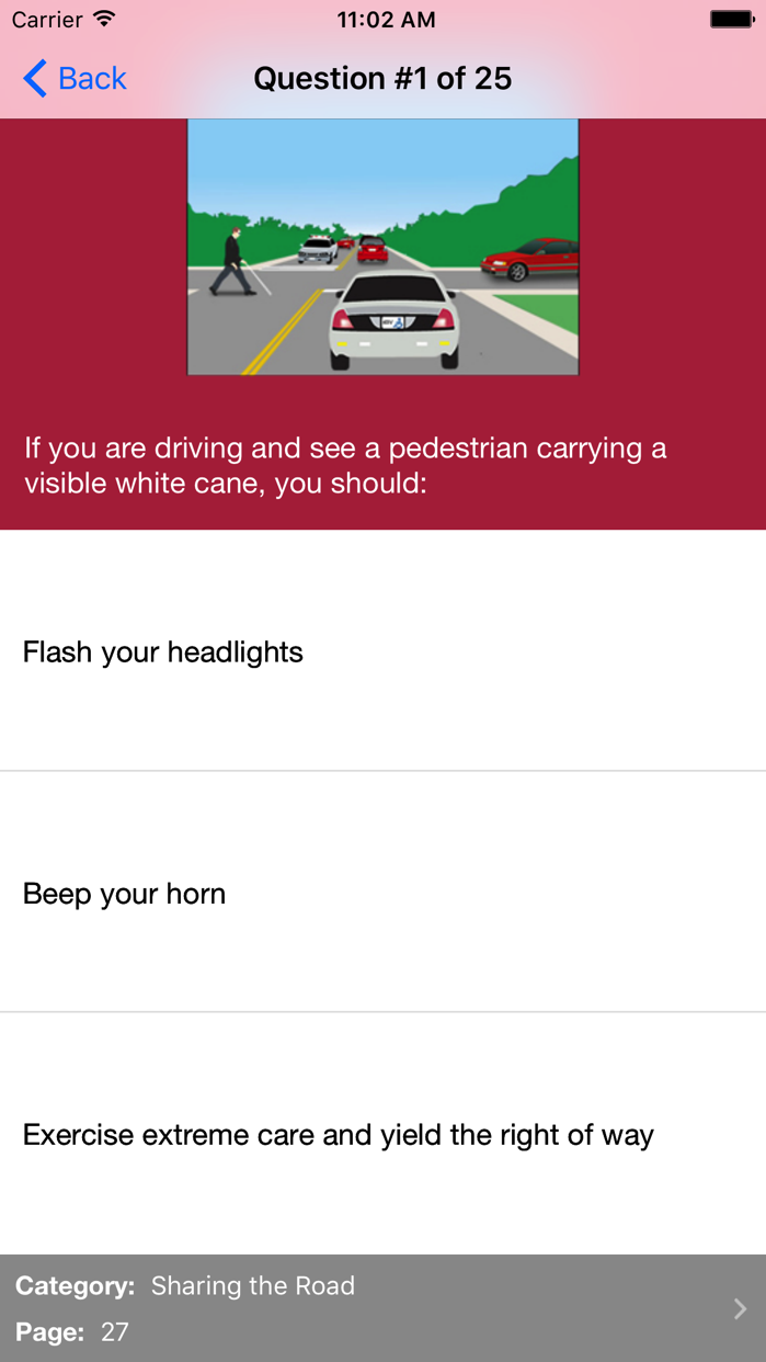 MD Practice Driving Test Screenshot