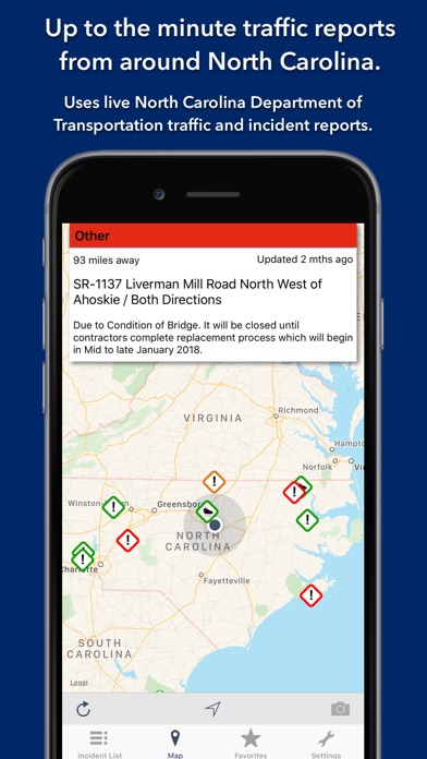 Screenshot for North Carolina Roads Traffic in Brazil App Store