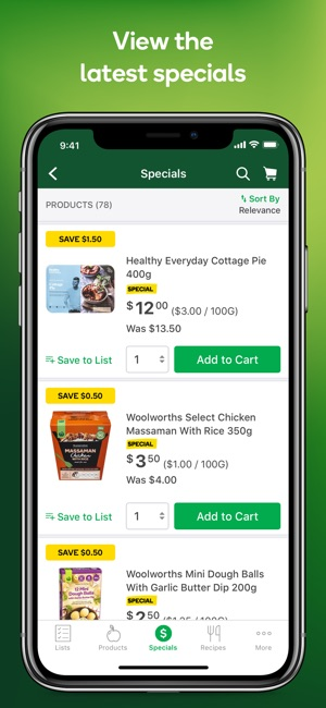 woolworths app screenshot