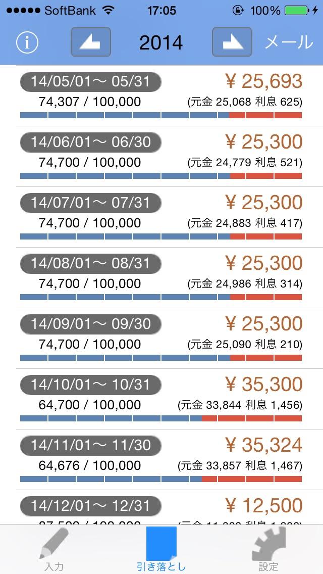 クレジット家計簿スクリーンショット