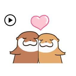 Animated Cute Otter Couple