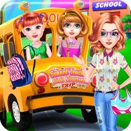 School Teacher Girls Classroom