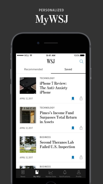 The wall street journal by dow jones company inc for Picture on wall app