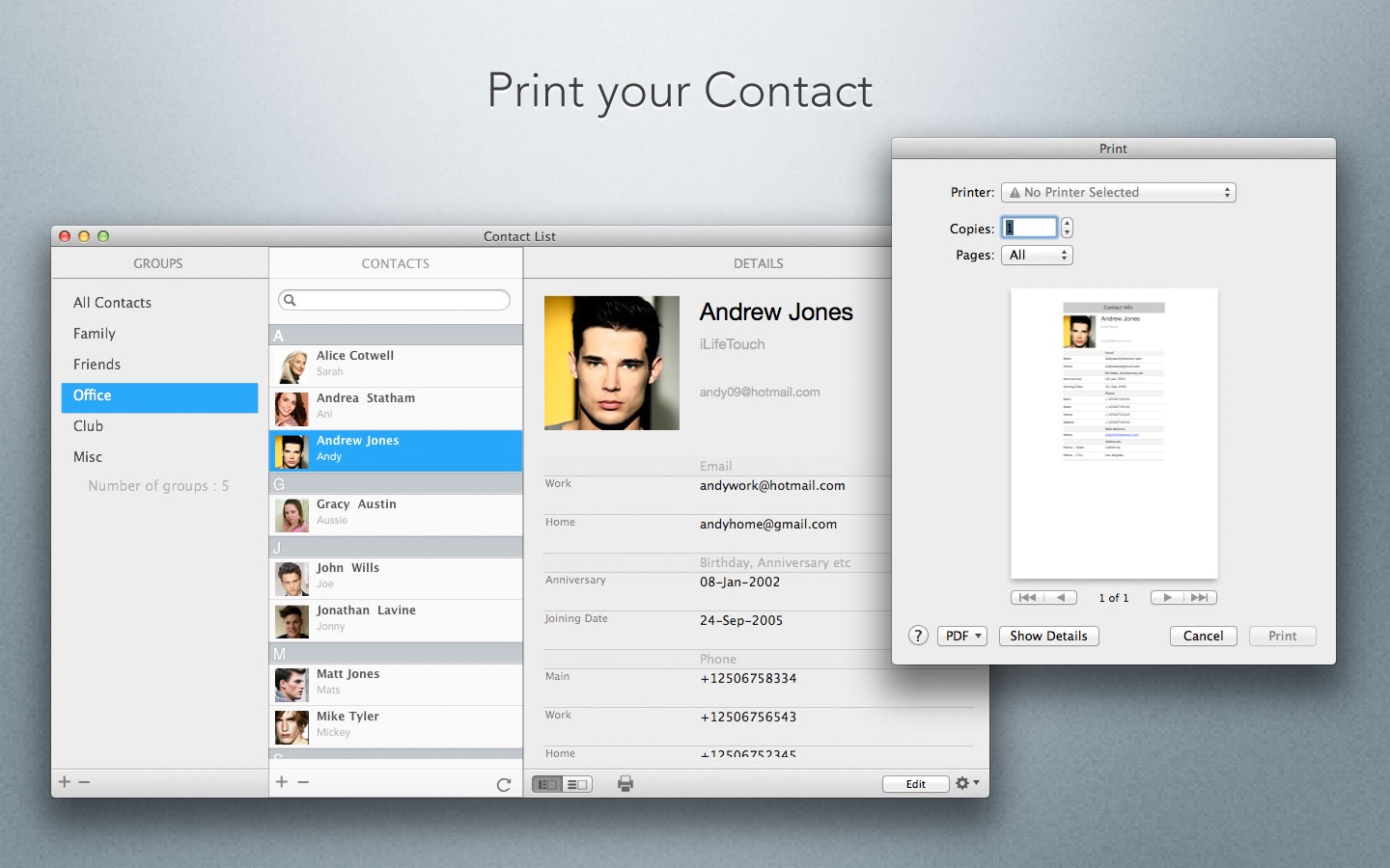 Contact List on the Mac App Store