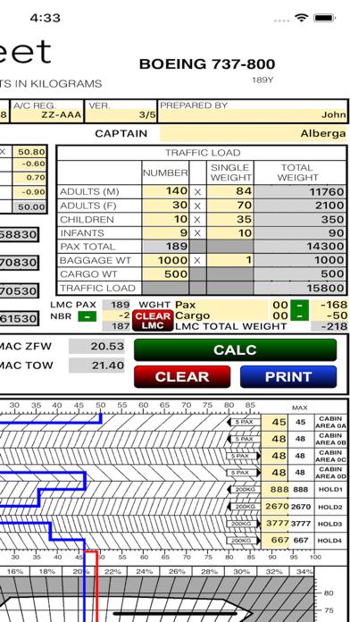 B738 LOADSHEET T&B 189 4z PAX screenshot two
