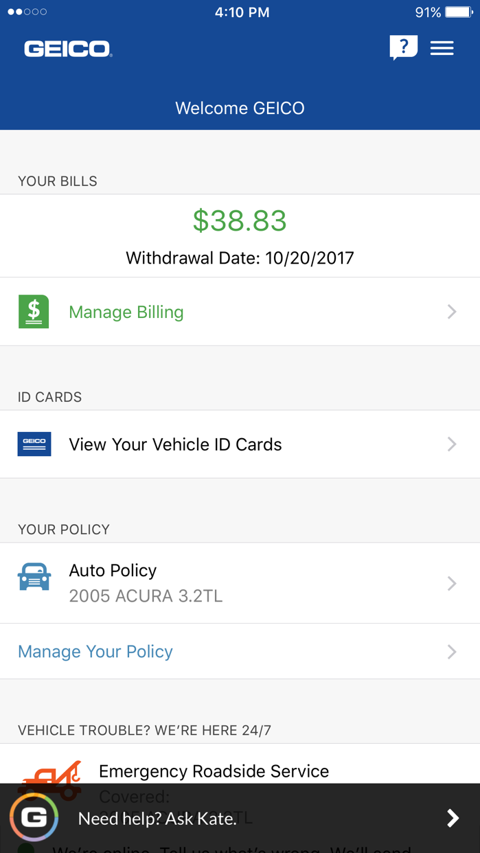 GEICO Mobile Screenshot