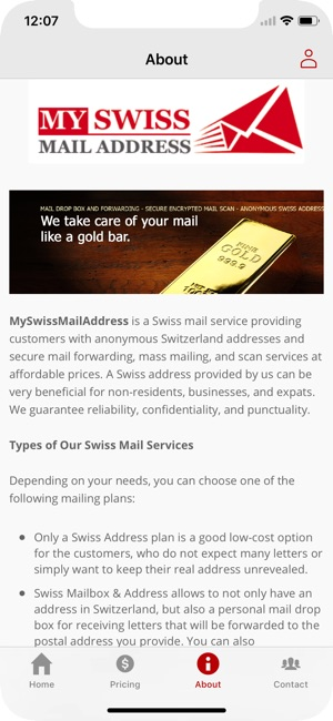 My Swiss Mail Address on the App Store