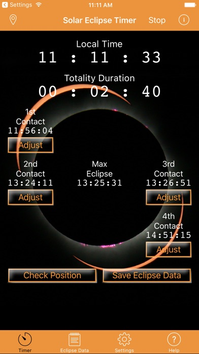 Screenshot of Solar Eclipse Timer App