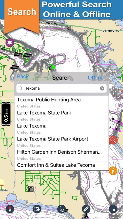 Lake Texoma gps offline nautical chart for boaters screenshot-3