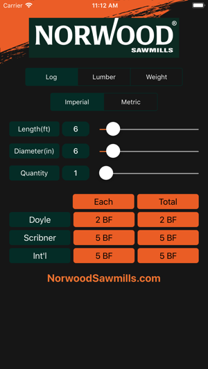 Norwood sawmills calculator on the app store for How to calculate board feet in a tree