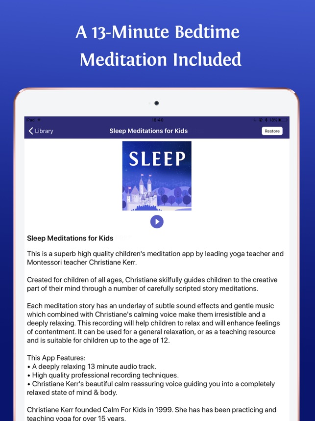 Sleep Meditations for Kids on the App Store