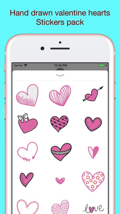 Screenshot for Hand drawn valentine hearts in South Africa App Store