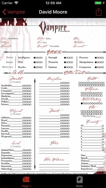 Real Sheet: NWOD Vampire ∞